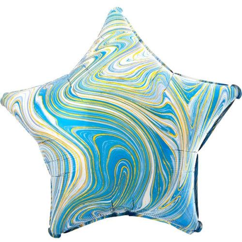 Шар 46 см Звезда Мрамор Золотая нить Голубой Агат