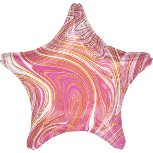 Шар 46 см Звезда Мрамор Золотая нить Розовый Агат