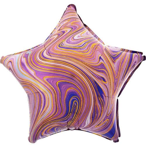 Шар 46 см Звезда Мрамор Золотая нить Сиреневый Агат
