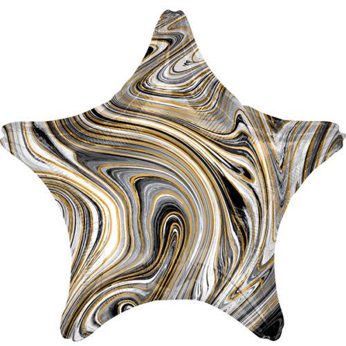Шар 46 см Звезда Мрамор Золотая нить Черный Агат