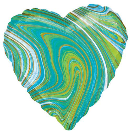 Шар 46 см Сердце Мрамор Золотая нить Бирюзовый Агат