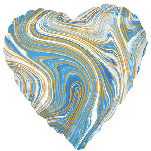 Шар 46 см Сердце Мрамор Золотая нить Голубой Агат