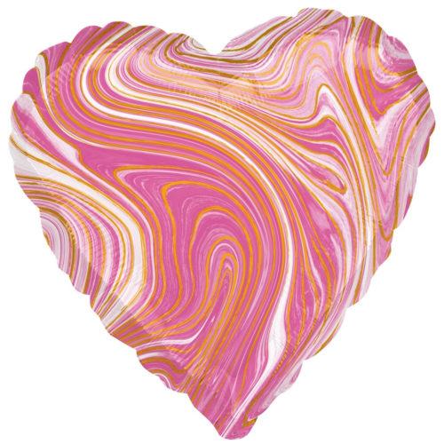 Шар 46 см Сердце Мрамор Золотая нить Розовый Агат