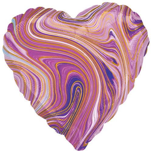 Шар 46 см Сердце Мрамор Золотая нить Сиреневый Агат