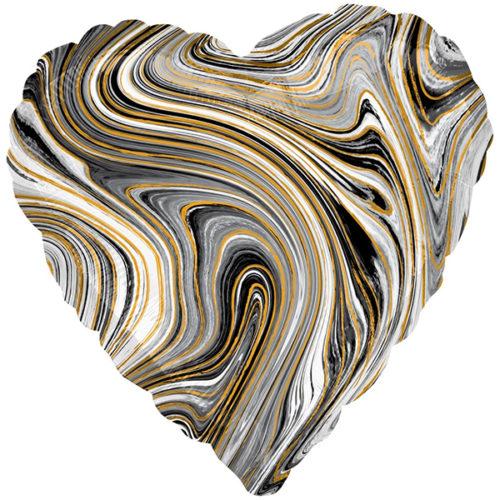 Шар 46 см Сердце Мрамор Золотая нить Черный Агат