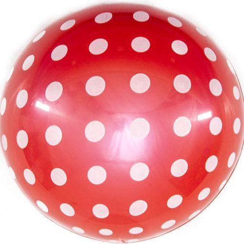 Шар 46 см Сфера 3D Белые точки Красный