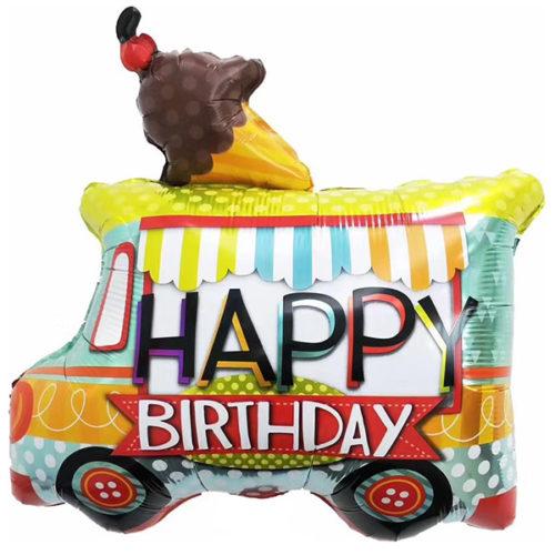 Шар 71 см Фигура Фургон мороженщика С Днем Рождения