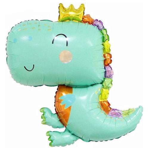 Шар 89 см Фигура Динозаврик в короне Светло-зеленый