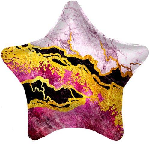 Шар 48 см Звезда Мрамор Розовый