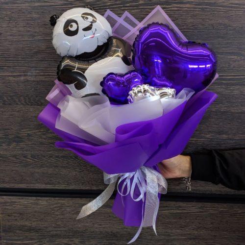 Букет из воздушных шаров Панда с Сердечком