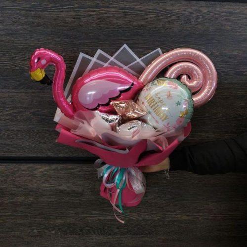 Букет из воздушных шаров Фламинго