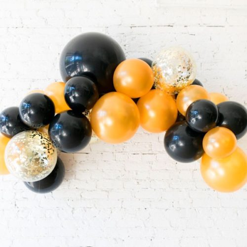 Гирлянда из воздушных шаров Цвет Черный Золото и шары с Конфетти 1 метр