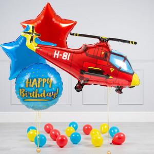 Комплект из воздушных шаров Вертолет Звезды и шары на пол