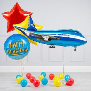 Комплект из воздушных шаров Пассажирский лайнер Звезды и шары на пол