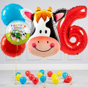 Комплект из воздушных шаров с Цифрой Голова коровы Круги и шары на пол