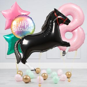 Комплект из воздушных шаров с Цифрой Лошадь Звезды и шары на пол