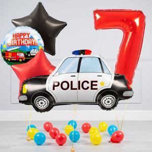 Комплект из воздушных шаров с Цифрой Полицейская машина Звезды и шары на пол
