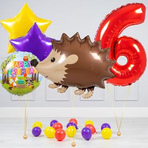 Комплект из шаров с Цифрой Ежик Звезды и на шары на пол