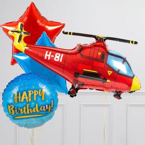 Связка из воздушных шаров Вертолет и Звезды