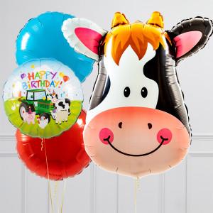Связка из воздушных шаров Голова коровы и Круги