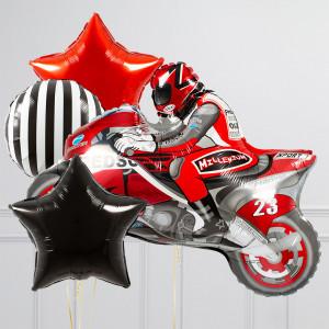 Связка из воздушных шаров Мотоциклист и Звезды