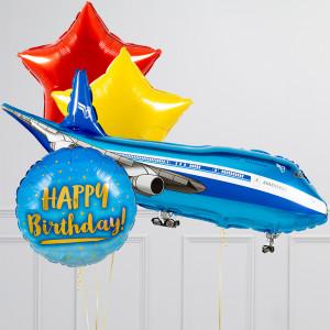 Связка из воздушных шаров Пассажирский лайнер и Звезды