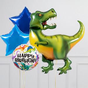 Связка из воздушных шаров Тираннозавр и Звезды