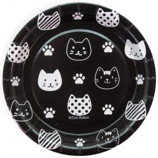 Тарелка 18 см Хэппи Мяу Котики Черный Белый 6 штук