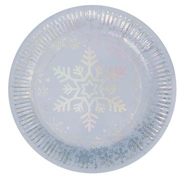 Тарелка 23 см Снежинка перламутр 8 штук