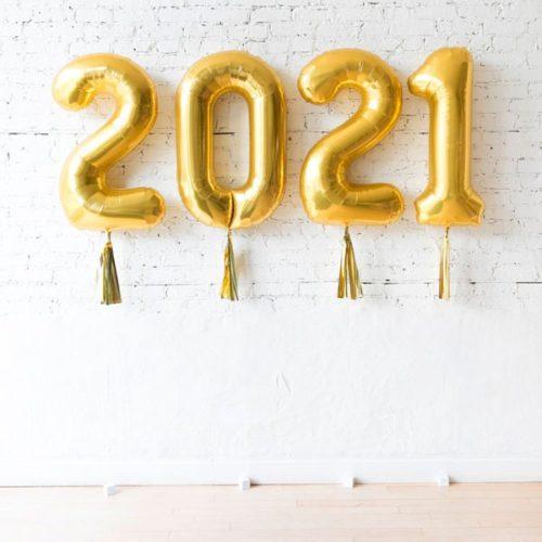 Цифры 2021 Золото с гирляндой тассел на грузиках