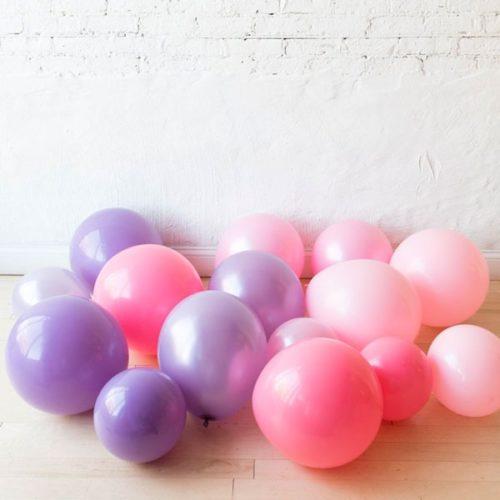 Шары на пол Макси Розовые и Сиреневые тона 15 штук