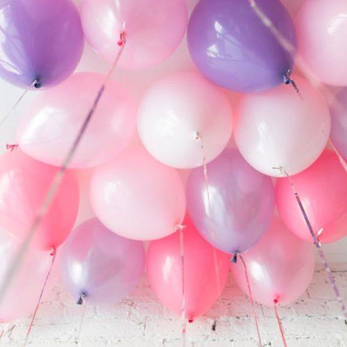 Шары под потолок 15 штук Розовые и Сиреневые тона