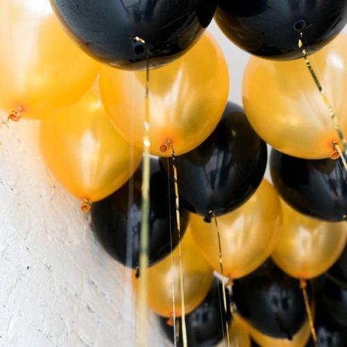Шары под потолок 15 штук Цвет Черный и Золото
