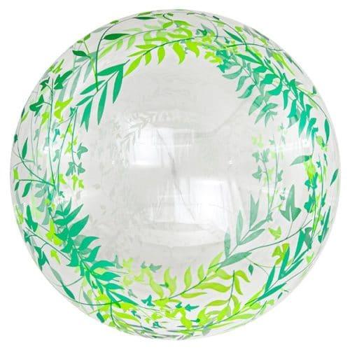 Шар 46 см Сфера 3D Deco Bubble Зеленые листья Прозрачный