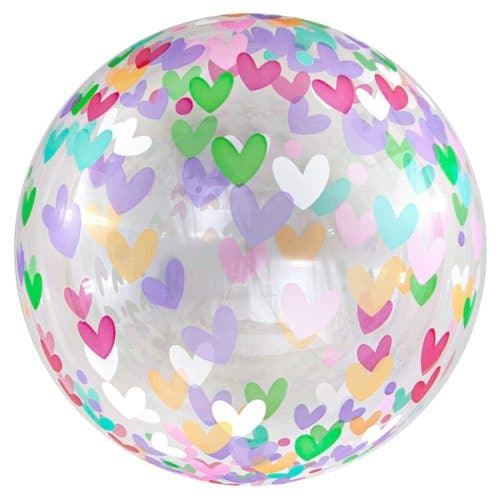 Шар 46 см Сфера 3D Deco Bubble Множество сердец Прозрачный