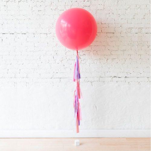 Шар 60 см Розовый с гирляндой тассел на грузике