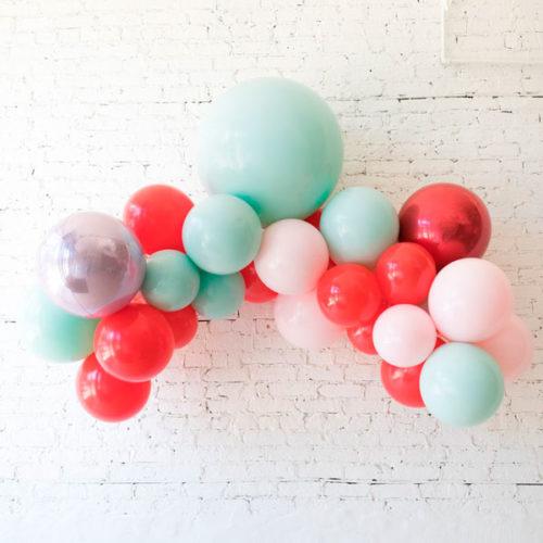 Гирлянда из воздушных шаров Красный Розовый Зеленый Ассорти 1 метр