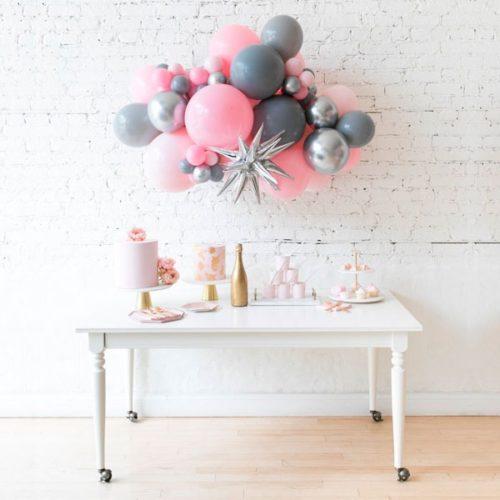 Гирлянда из разных шаров Розовый Серый Серебро Хром со Звездой