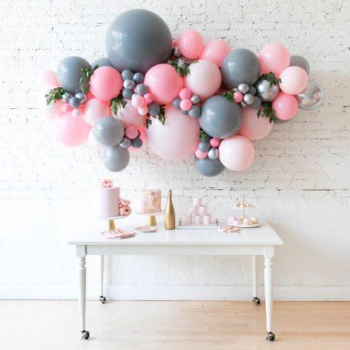 Гирлянда из разных шаров Розовый Серый Серебро Хром с Зеленью