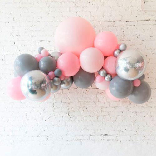 Гирлянда из разных шаров Розовый Серый и Серебро Хром со Сферами