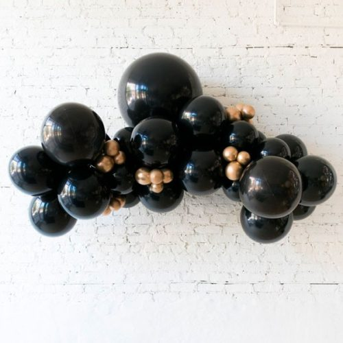 Гирлянда из разных шаров Черный и Золото Хром