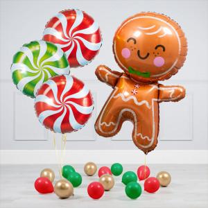 Комплект воздушных шаров Круги конфеты и Пряничный человечек и Шары на пол