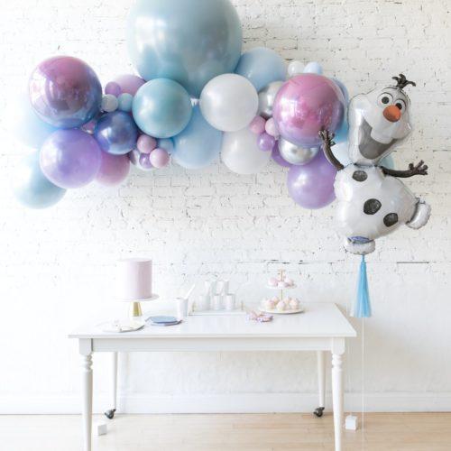 Комплект из воздушных шаров Гирлянда 2 метра и Снеговик Олаф Перламутровые тона