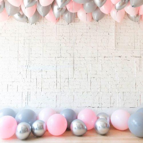 Комплект из воздушных шаров Шары под потолок 50 штук Розовый Серый Серебро Хром и Шары на пол
