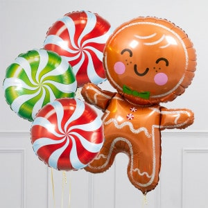 Связка воздушных шаров Круги конфеты и Пряничный человечек