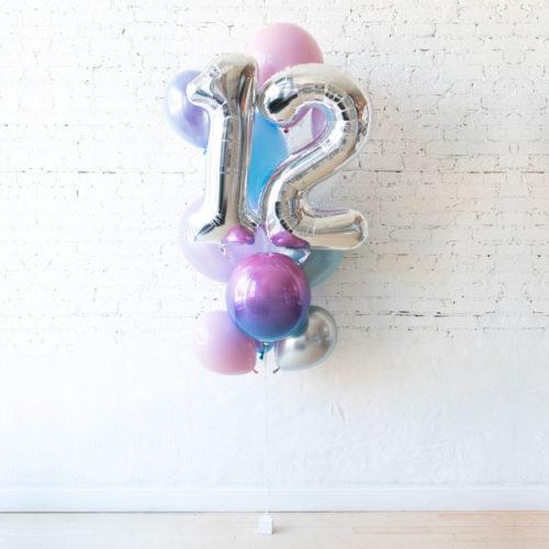 Фонтан из 10 шаров Перламутровые тона с Цифрой 12