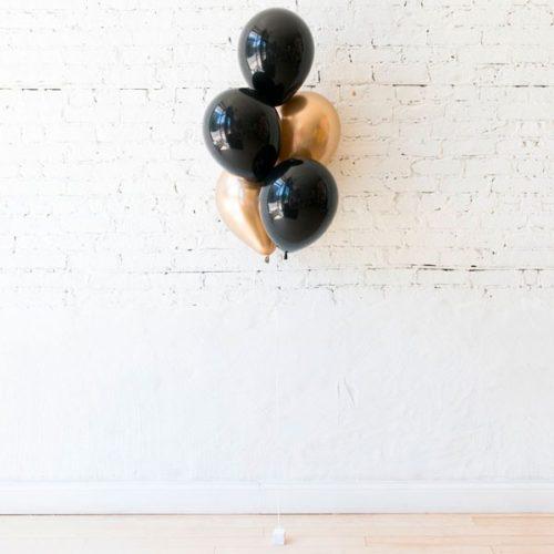 Фонтан из 5 шаров Черный и Золото Хром
