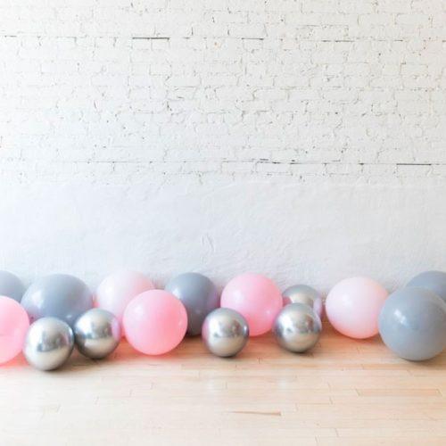 Шары на пол 15 штук Ассорти Розовый Серый и Серебро Хром