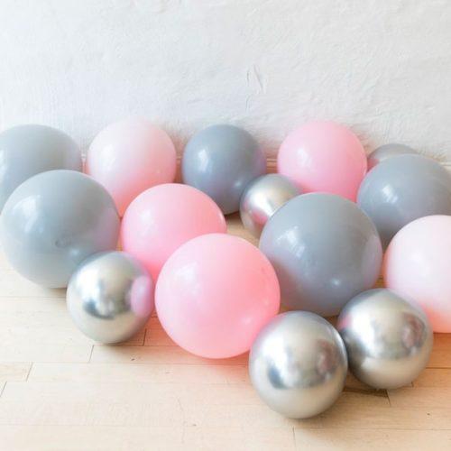 Шары на пол 20 штук Ассорти Розовый Серый и Серебро Хром