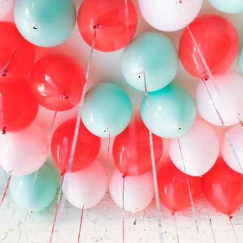 Шары под потолок Красный Зеленый Розовый 25 штук